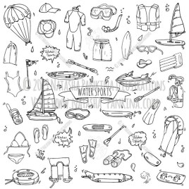 Watersports. Hand Drawn Doodle Water Sport Icons Collection. - Natasha Pankina Illustrations