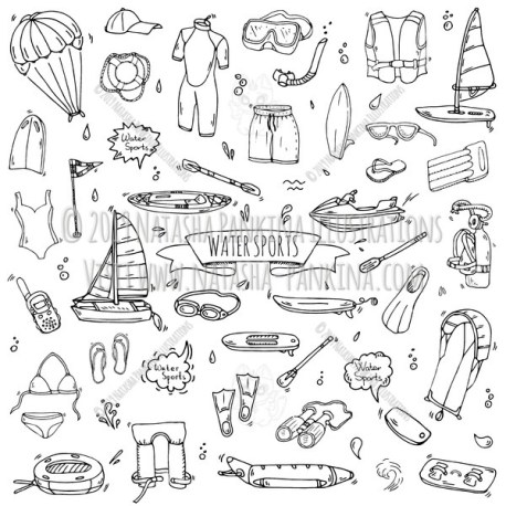 Watersports. Hand Drawn Doodle Water Sport Icons Collection. - Natasha Pankina Illustrations