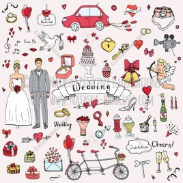 Wedding. Hand Drawn Doodle Marriage Colorful Icons Collection. - Natasha Pankina Illustrations