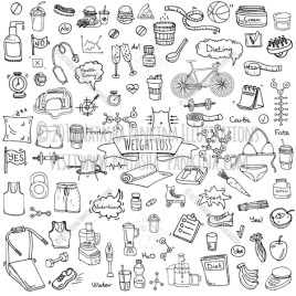 Weight loss. Hand Drawn Doodle Diet Icons Collection. - Natasha Pankina Illustrations