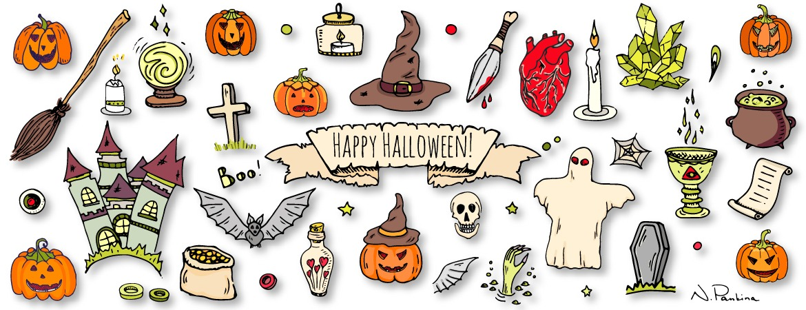 description: Hand drawn doodle Happy Halloween icons set. Vector illustration. Holiday symbols collection. Cartoon various sketch elements: pumpkin, ghost, castle, bat, candy, witches cauldron, zombie hand, skull  keywords: design element, doodle, freehand drawing, hand drawn, icon set, illustration, outlined, sketch, symbol, vector, vector elements, icon collection, object, isolated, graphic design, template, decorative, hat, pumpkin, halloween, halloween background, ghost, fear, horror, bat, cartoon, broom, creepy, fun, mystery, pot, beast, magic, holiday, creature, celebration, traditional, monster, funny, candy, collection, spooky, dead, evil, candle, bandage, scary, zombie hand, vampire coffin, natasha pankina, holiday, holidays  illustrator: Natasha Pankina Natasha Pankina