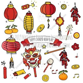 Chinese New Year. Hand Drawn Doodle Chinese Colorful Icons Set - Natasha Pankina Illustrations
