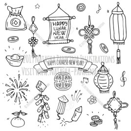 Chinese New Year. Hand Drawn Doodle Chinese Icons Set. - Natasha Pankina Illustrations