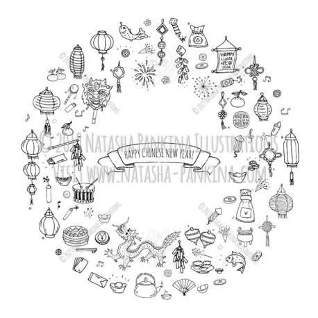 Chinese New Year. Hand Drawn Doodle Chinese Icons Set. Wreath shaped. Ring shape. With place for your text. Chalkboard style. - Natasha Pankina Illustrations