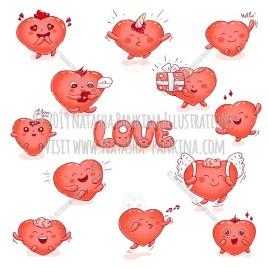 Hearts. Hand Drawn Doodle Love Kawaii Colored Icons Collection. - Natasha Pankina Illustrations