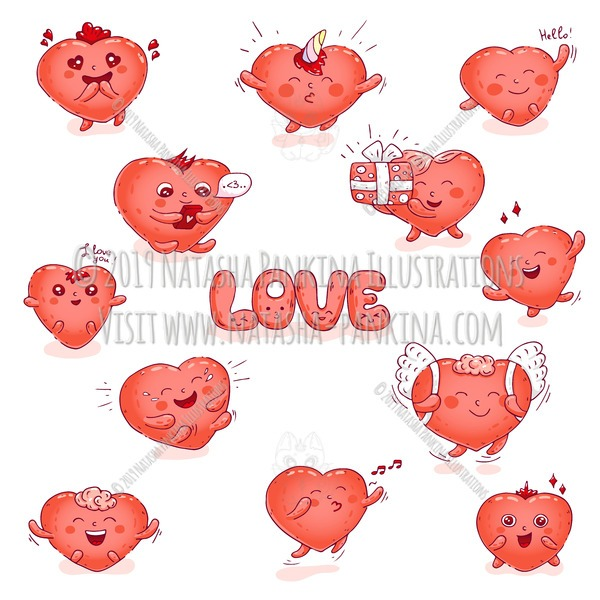 Hearts. Hand Drawn Doodle Love Kawaii Colored Icons Collection. - Natasha Pankina Illustrations