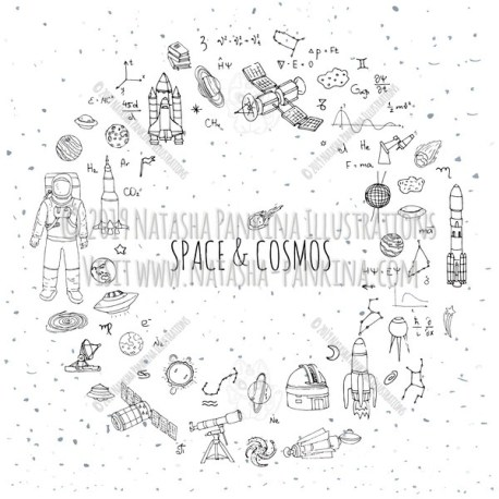 Space. Hand Drawn Doodle Cosmos Icons Collection. Wreath shaped. Ring shape. With place for your text. - Natasha Pankina Illustrations