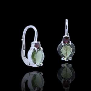 Moldavite Heart Earrings with Garnet
