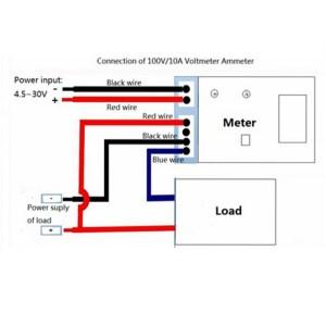 DC 0100V 10A Digital Voltmeter Ammeter Dual Display 10A