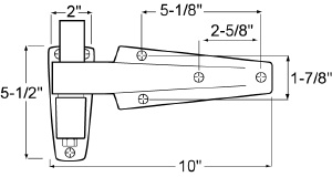Component hardware (CHG) w60-1125X hinge 1-1/4 offset, std