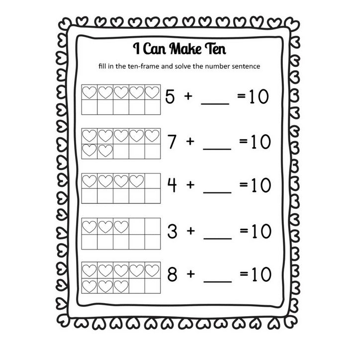 I *heart* Math: Making 10 Heart Themed Addition Worksheets