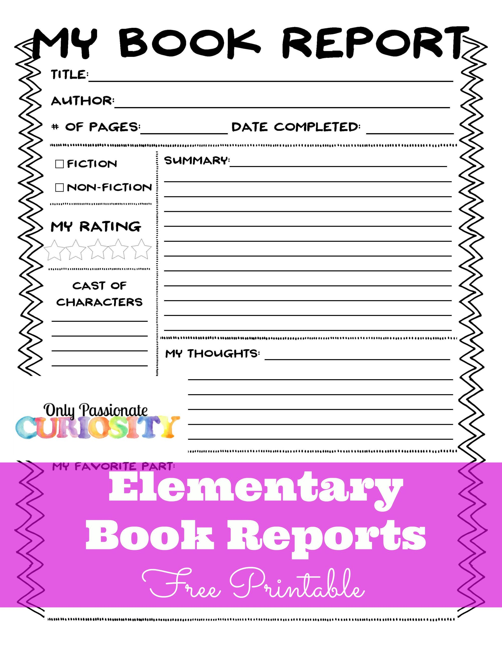 hight resolution of Book Report Worksheet 4th Grade