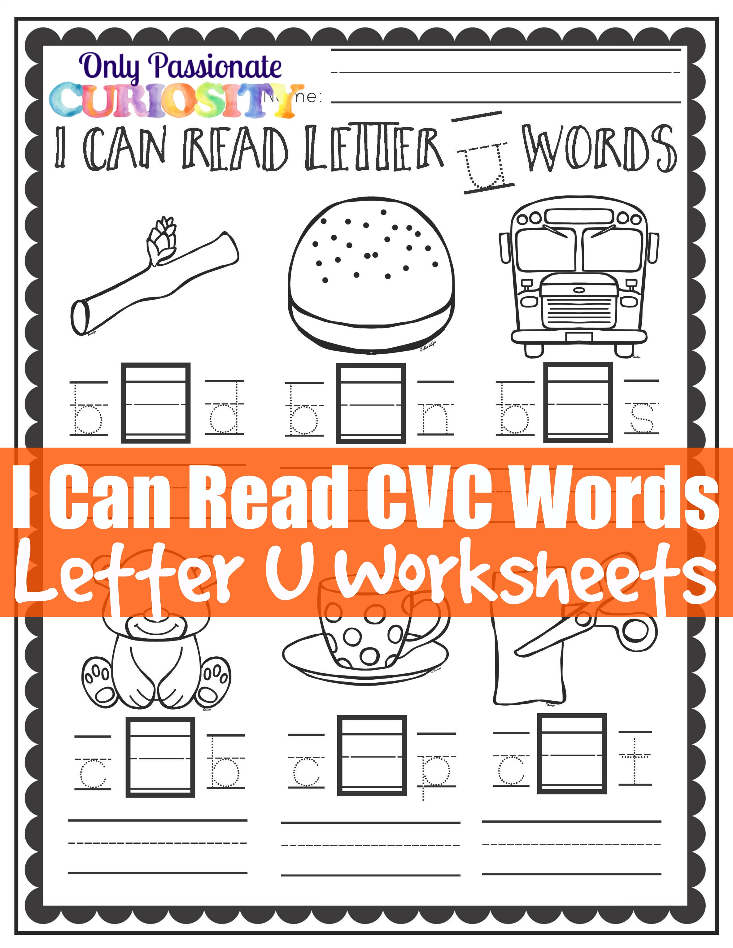 Cvc Worksheets Middle U Words