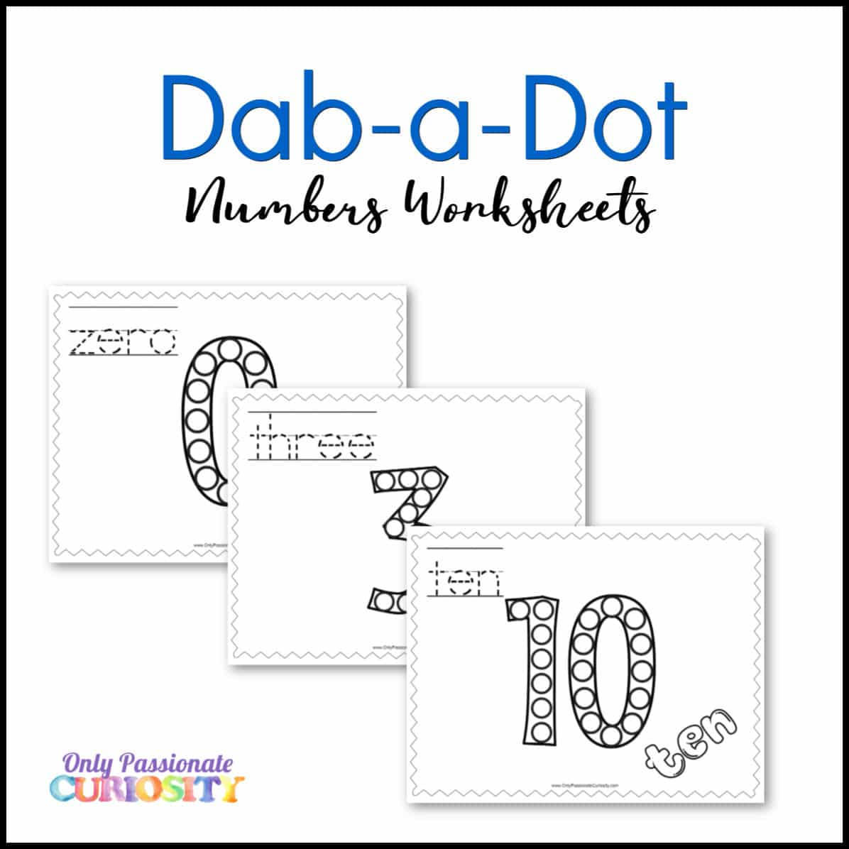 Dab A Dot Worksheets Numbers 0