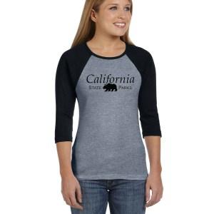 Ladies 3/4 Sleeve T-Shirt, HEATHER/BLK-1141