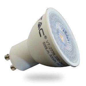 bombilla led gu10 v-tac 7w-45w luz calida 500lm 110grs wide lentes l1672