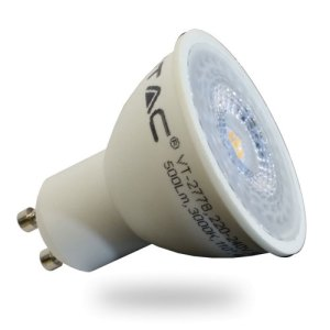 bombilla led gu10 v-tac 7w>>45w luz calida 500lm 110grs wide lentes l1672