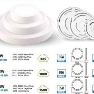 panel led superficie slim v-tac redondo 190*24mm luz calida 18w>>75w 1440lm l4916