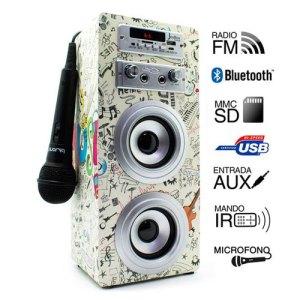 altavoces biwond joybox karaoke portable 10w bt sd radio microfono guitar