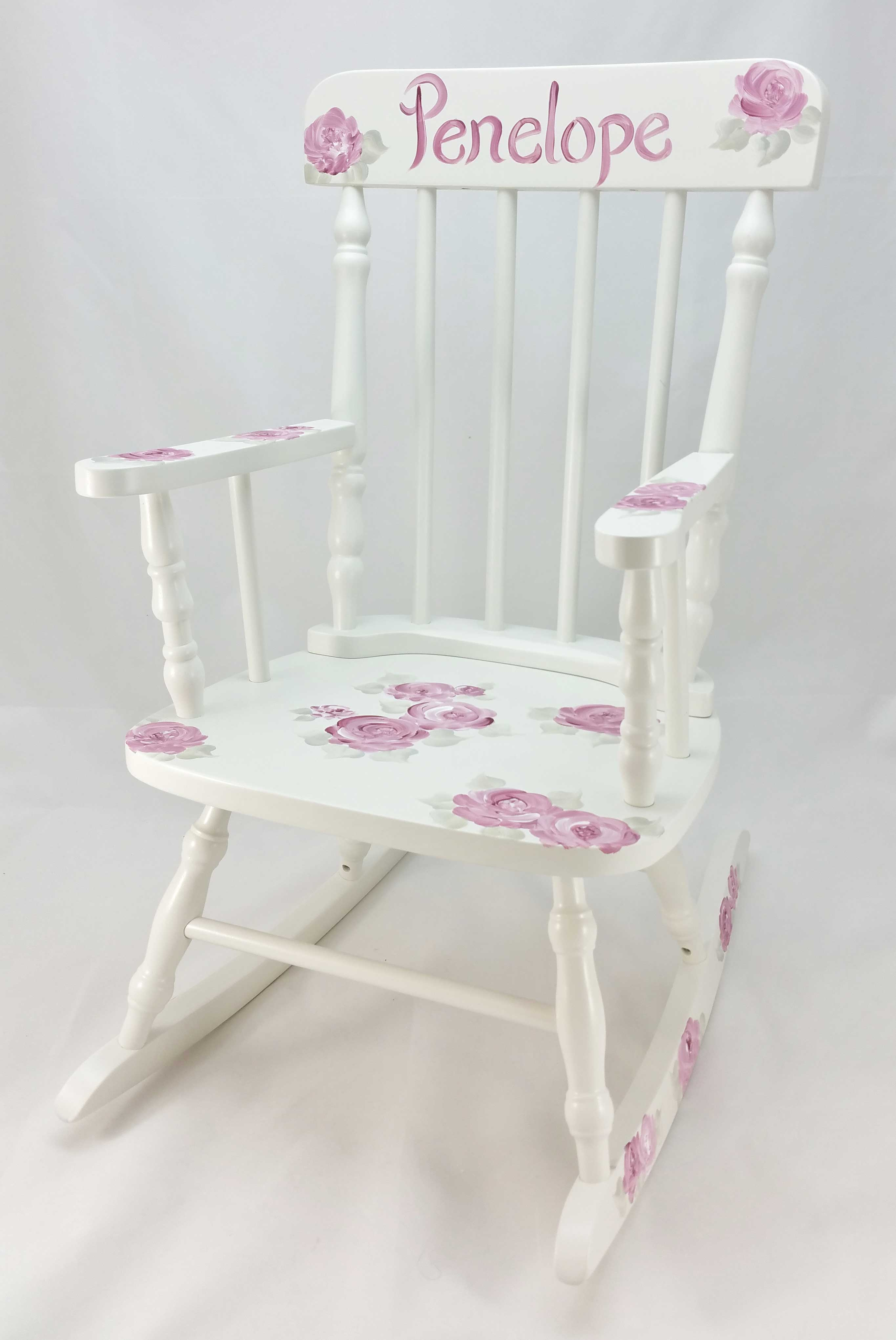 pink toddler rocking chair tommy bahama dining chairs deep roses personalized purple