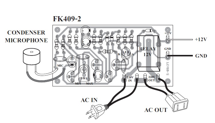 Sound Activated ON OFF Switch Kit FK409 QKits Electronics
