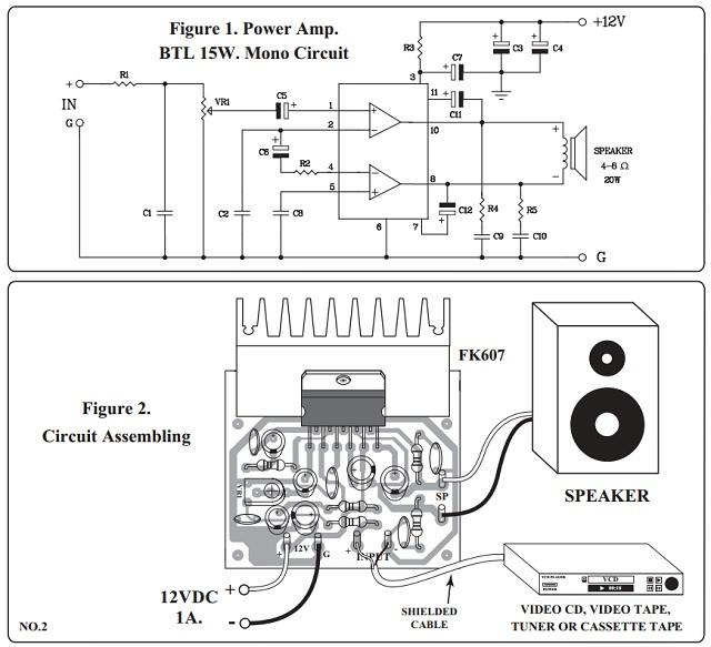 Audio Power Amplifier Kit15 Watts Mono QKits Electronics