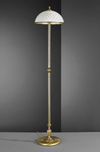 Brass floor lamp, with white decorated glass shade ...