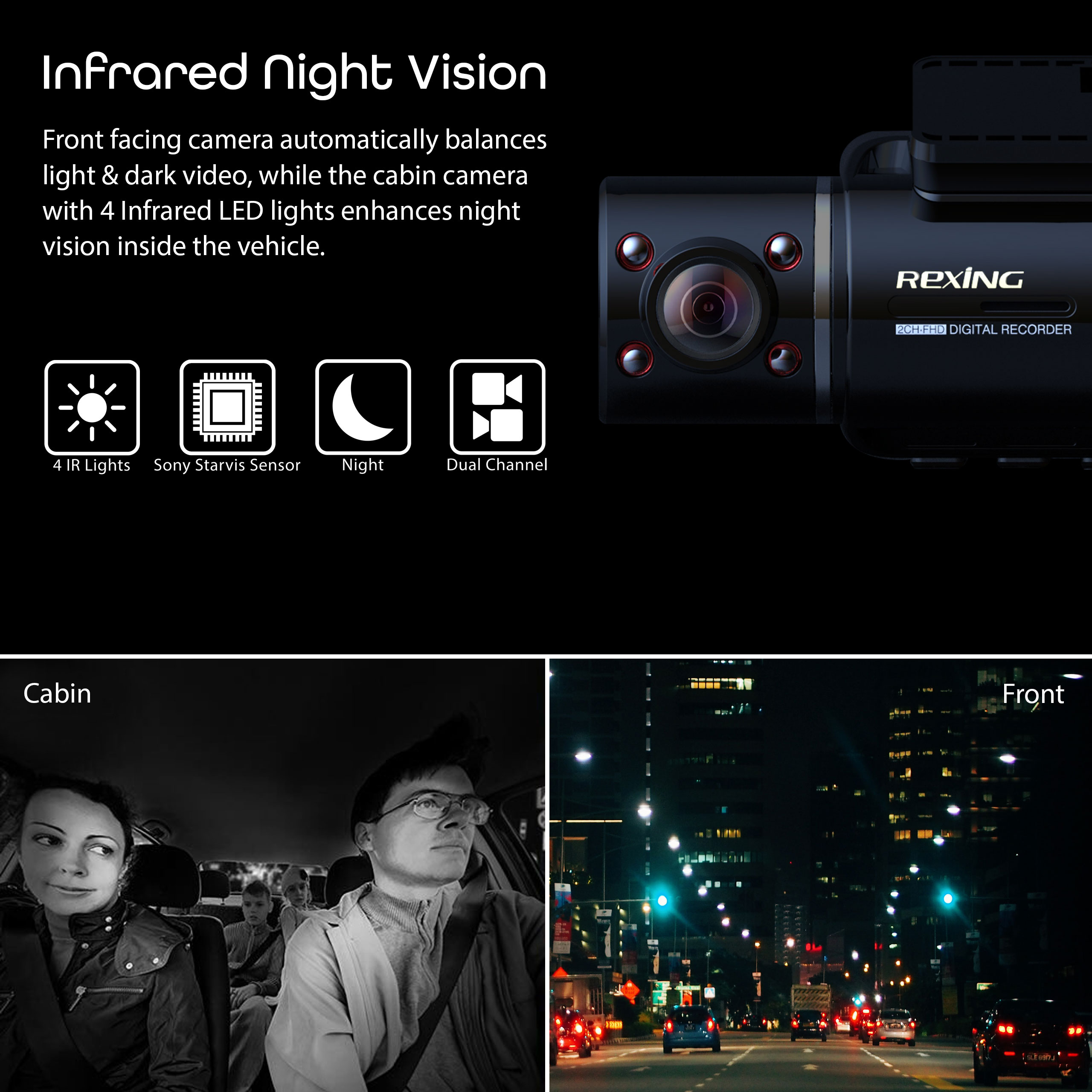 Rexing V3 Dual Camera Front and Inside Cabin Infrared Night Vision Full HD 1080p WiFi Car Taxi Dash Cam with Built-in GPS Mobile App Parking Monitor Supercapacitor 2.7 LCD Screen