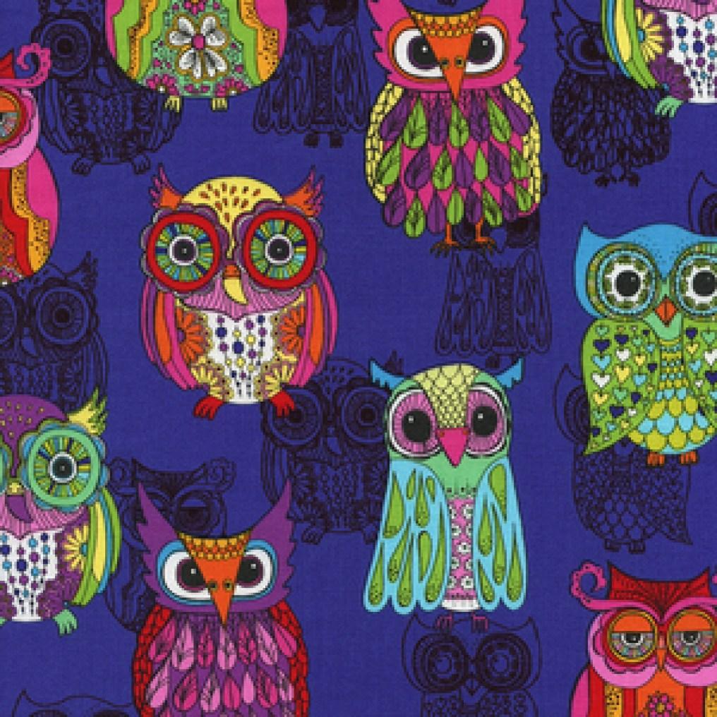 (Timeless Treasures) Funky Owls, Funky Owls in Purple