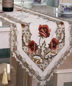 Vintage Embroidered Table Runner Floral