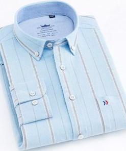 Oxford button long sleeved striped shirt