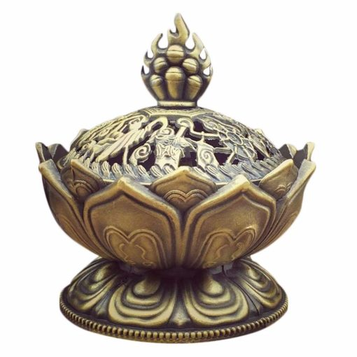 Lotus Metal incense burner with lid