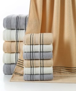 Bath and face towels with stripes