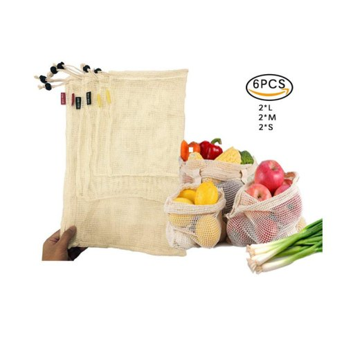 Reusable mesh produce bags with drawstring