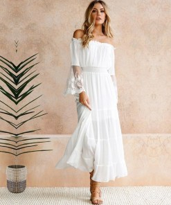 Womens off shoulder Maxi Dress