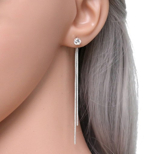 Womens Silver Plated Dangle Earrings