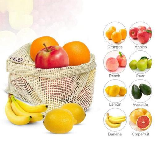 Reusable mesh cotton bags