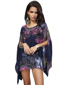 Womens Tropical Poncho Blouse