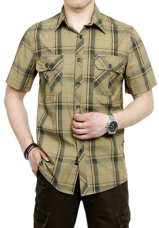 Men Plus Size Shirt Casual Short Sleeve