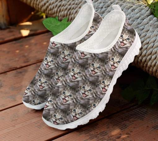 Colorful Cat Themed Mesh Slip On Sneakers Tennis Shoes