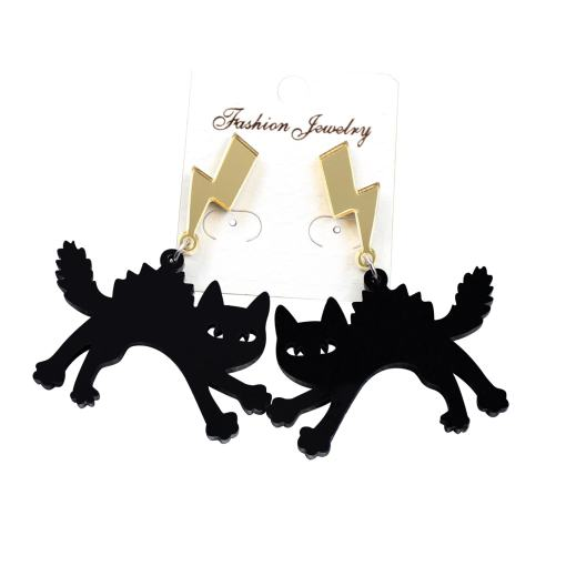 Black Scaredy Cat Acrylic Dangle Earrings