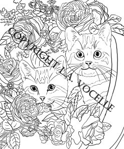 Cats and Flowers Coloring Book Page,Two Kittens in a Pot with Flowers from Cats and Flowers Coloring Book by L.A.Vocelle is now available for instant download from The Great Cat Store.