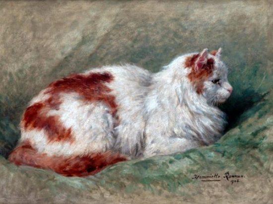Cat Sitting on Pillow 1904, Henriette Ronner-Knip, 16×20