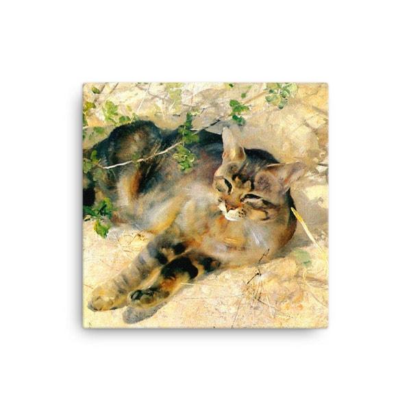Bruno Liljefors: Sleeping Jeppe, 1886, Canvas Cat Art Print, 12×12