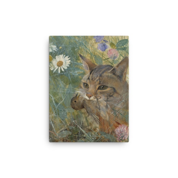 Bruno Liljefors: Cat with a Bird in its Mouth, 1885, Canvas Cat Art Print, 12×16