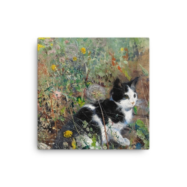 Bruno Liljefors: Cat in the Flowerbed, 1887, Canvas Cat Art Print, 12×12