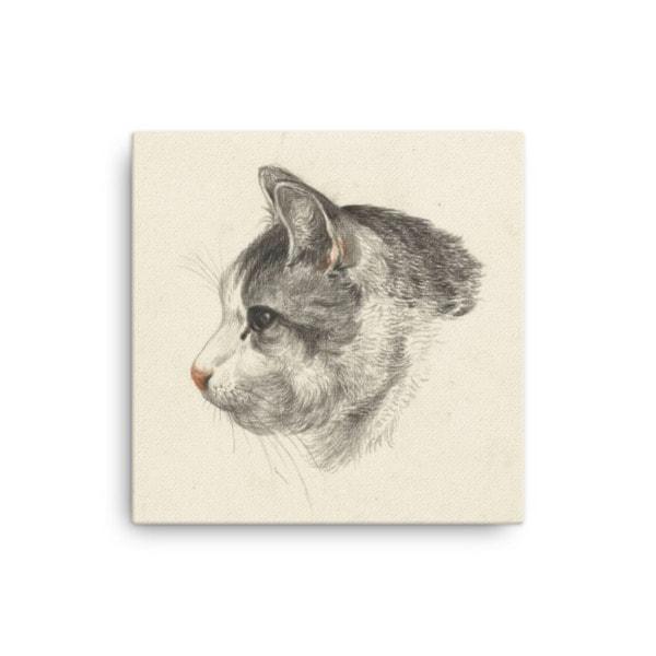 Jean Bernard: Study of a Cat's Head, Canvas Cat Art Print, 12×12