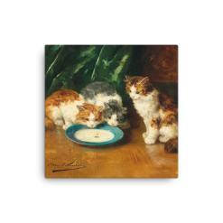 Alfred Brunel de Neuville: What's that then?, Before 1941, Canvas Cat Art Print, 16x16