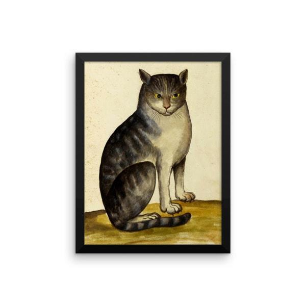 Ulisse Aldrovandi: Seated Cat, 16th Century, Framed Cat Art Poster, 12×18
