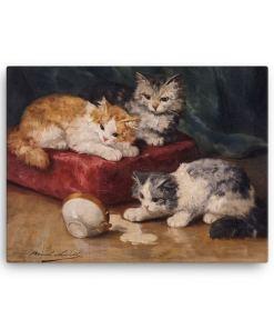 Alfred Brunel de Neuville: Les Chats, Before 1941, Canvas Cat Art Print